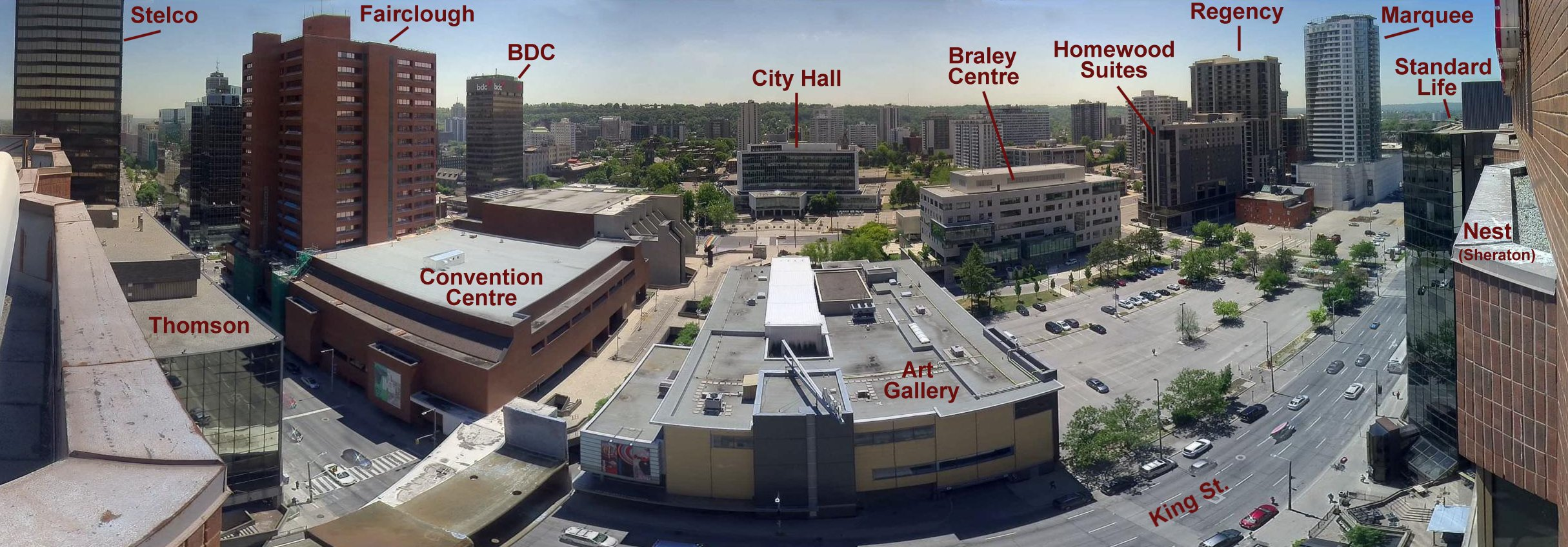 A diagram of the view from the falcons' nest