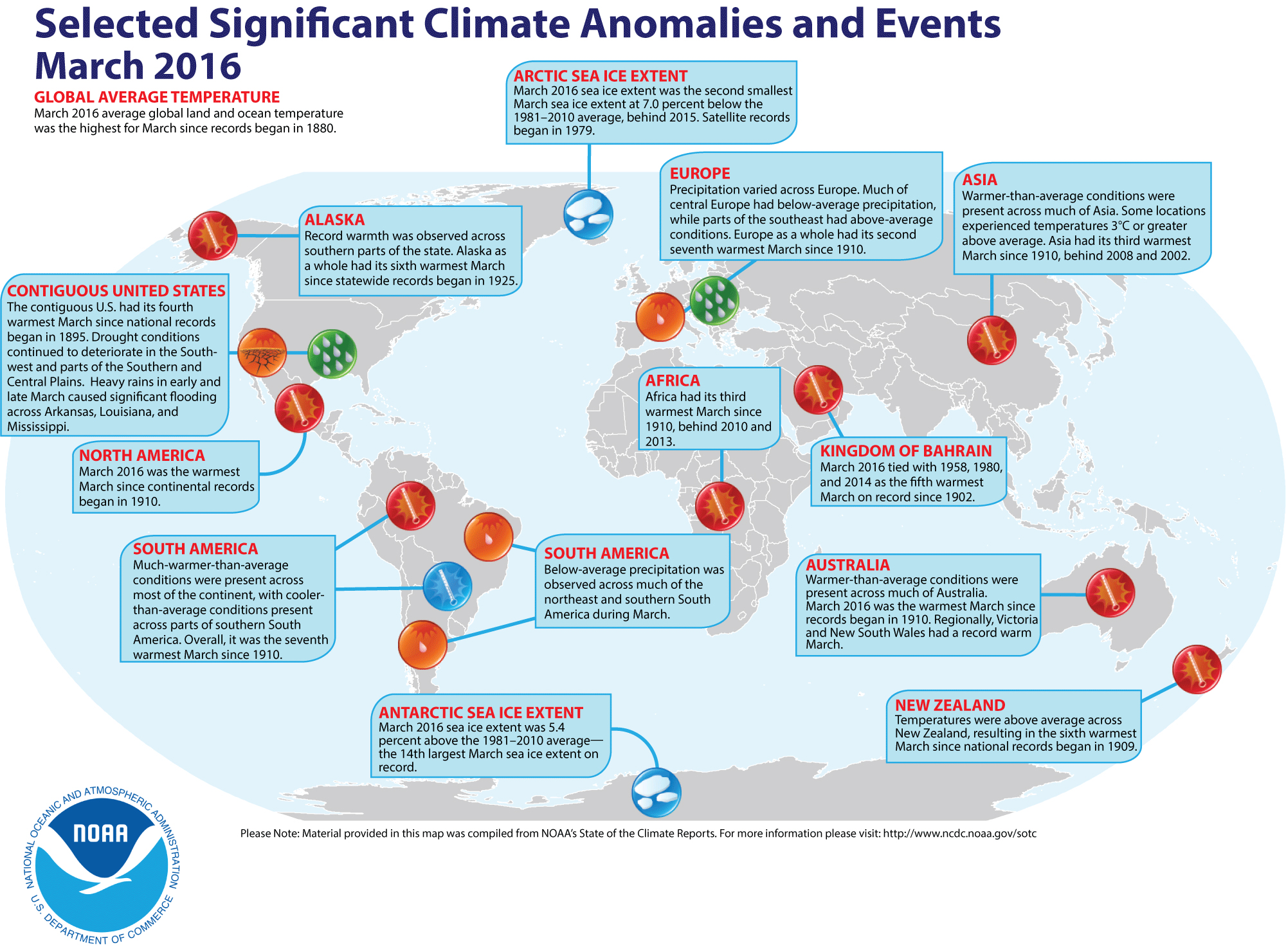 a map showing global weather events in 2016