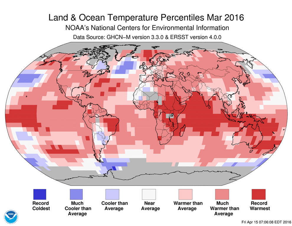 a map showing breaking global temperatures in 2016
