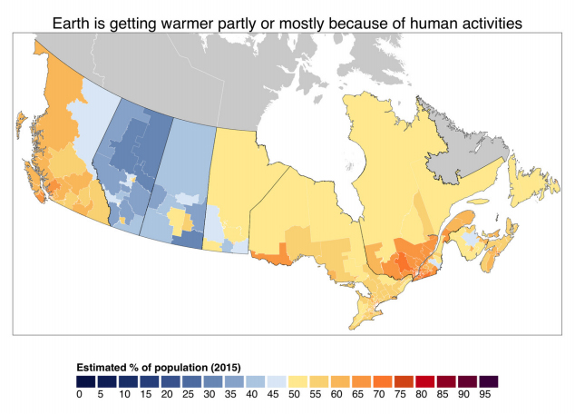 map showing amount of people in Canada who believe earth is getting warmer partly or mostly because of human activities