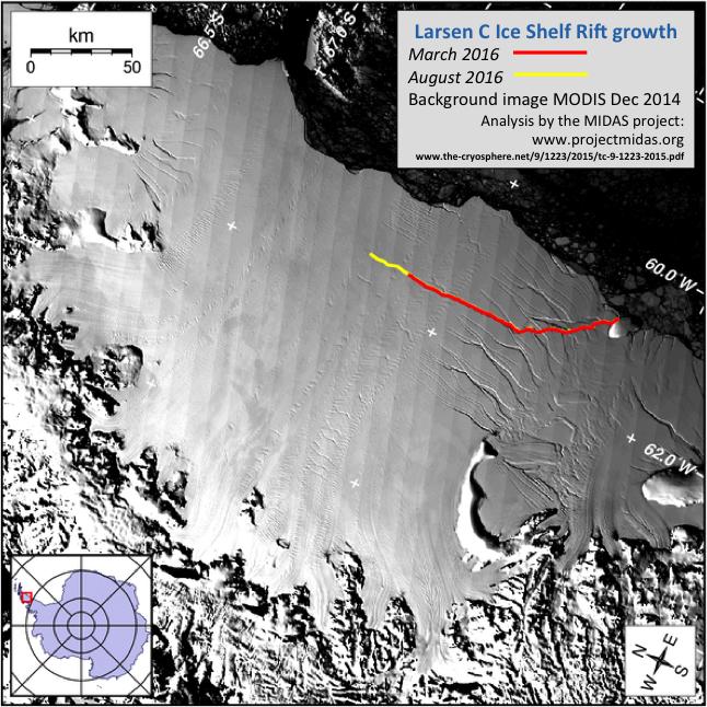 Larsen C Ice Shelf Rift growth