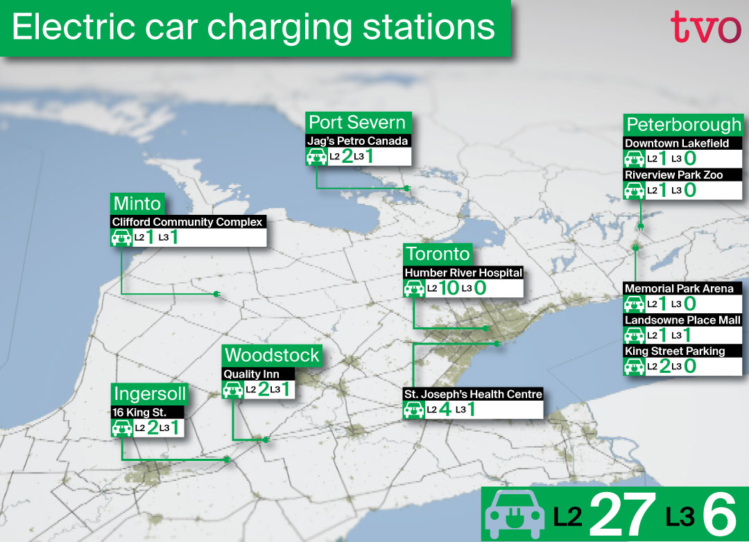 a map showing electric car charging stations across Ontario