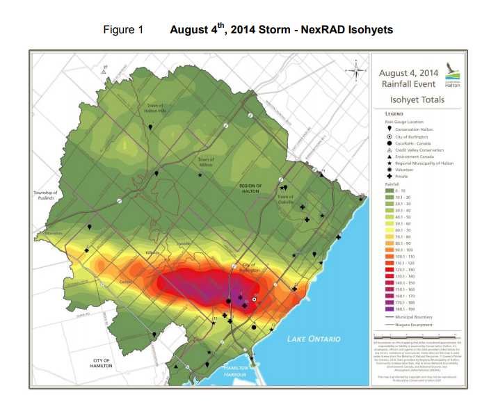 a map showing flood water in Burlington  in 2014