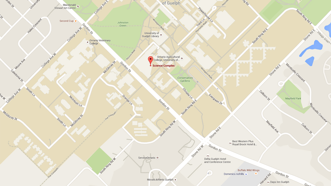 A map showing the location of Summerlee Science Complex,  474-570 Gordon St, Guelph