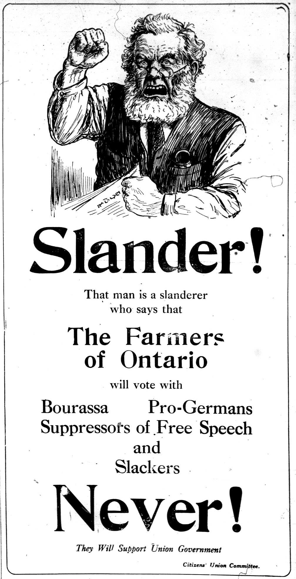 a union ad for the 1917 Canadian general election