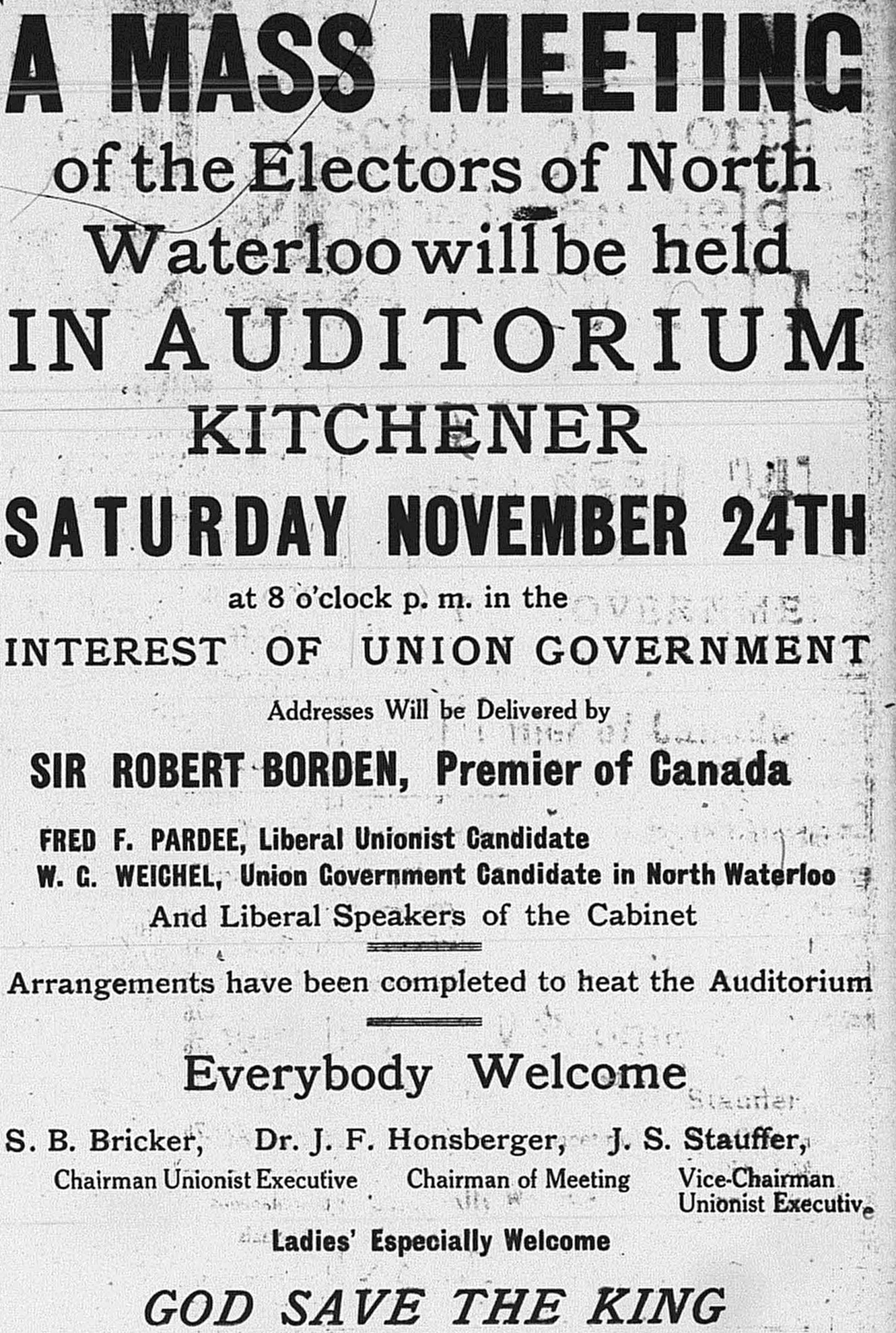 a rally ad during the 1917 Canadian federal election