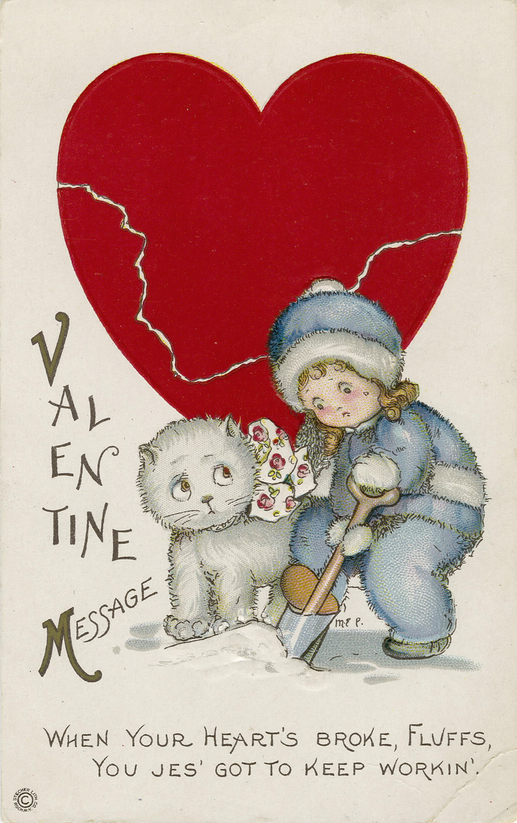A vintage Valentine's Day greeting card showing a broken heart.