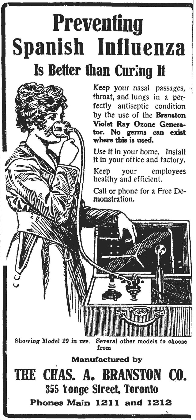 A 1918 newspaper ad for prevention of the Spanish Flu