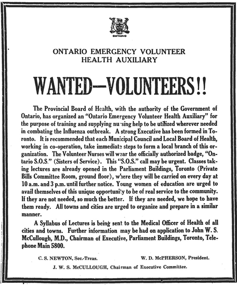 A 1918 newspaper ad by the provincial health authority for volunteers to help out with the Spanish Flu.