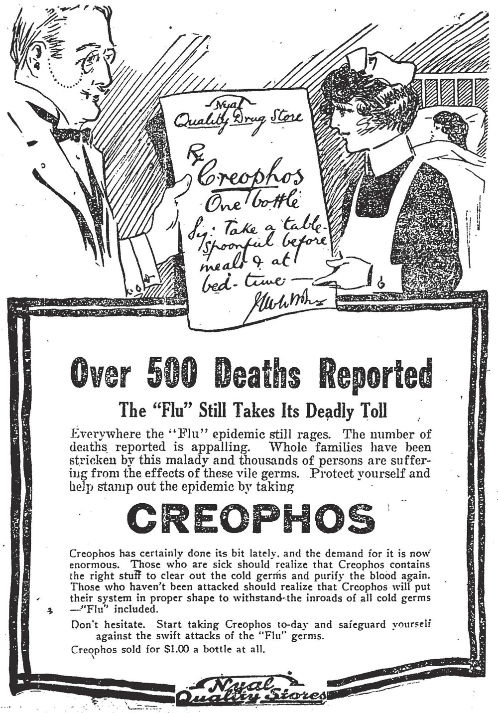 A 1918 ad for medicine to combat the Spanish Flu