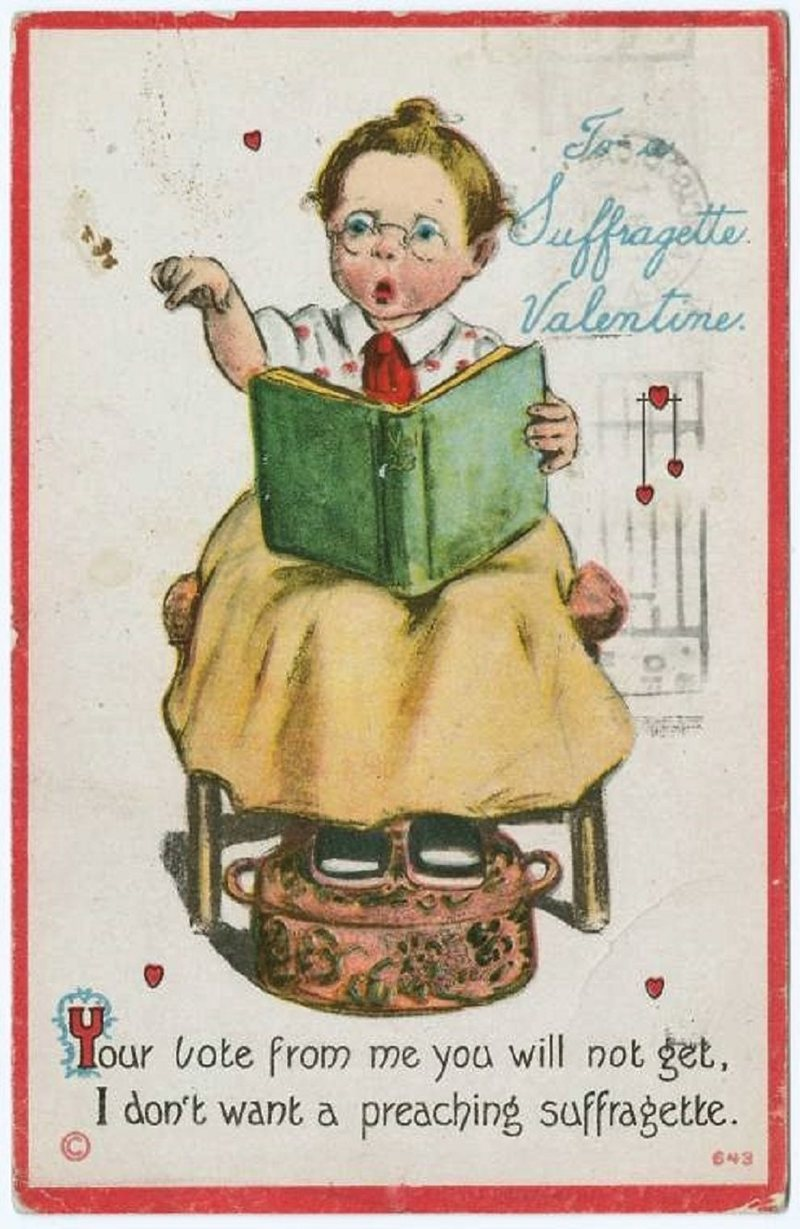 """A vintage Valentine's Day greeting card to a """"suffragette."""""""