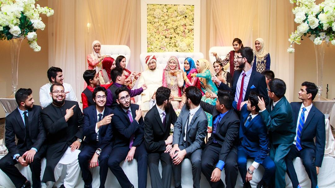 a bridal party posing for photos