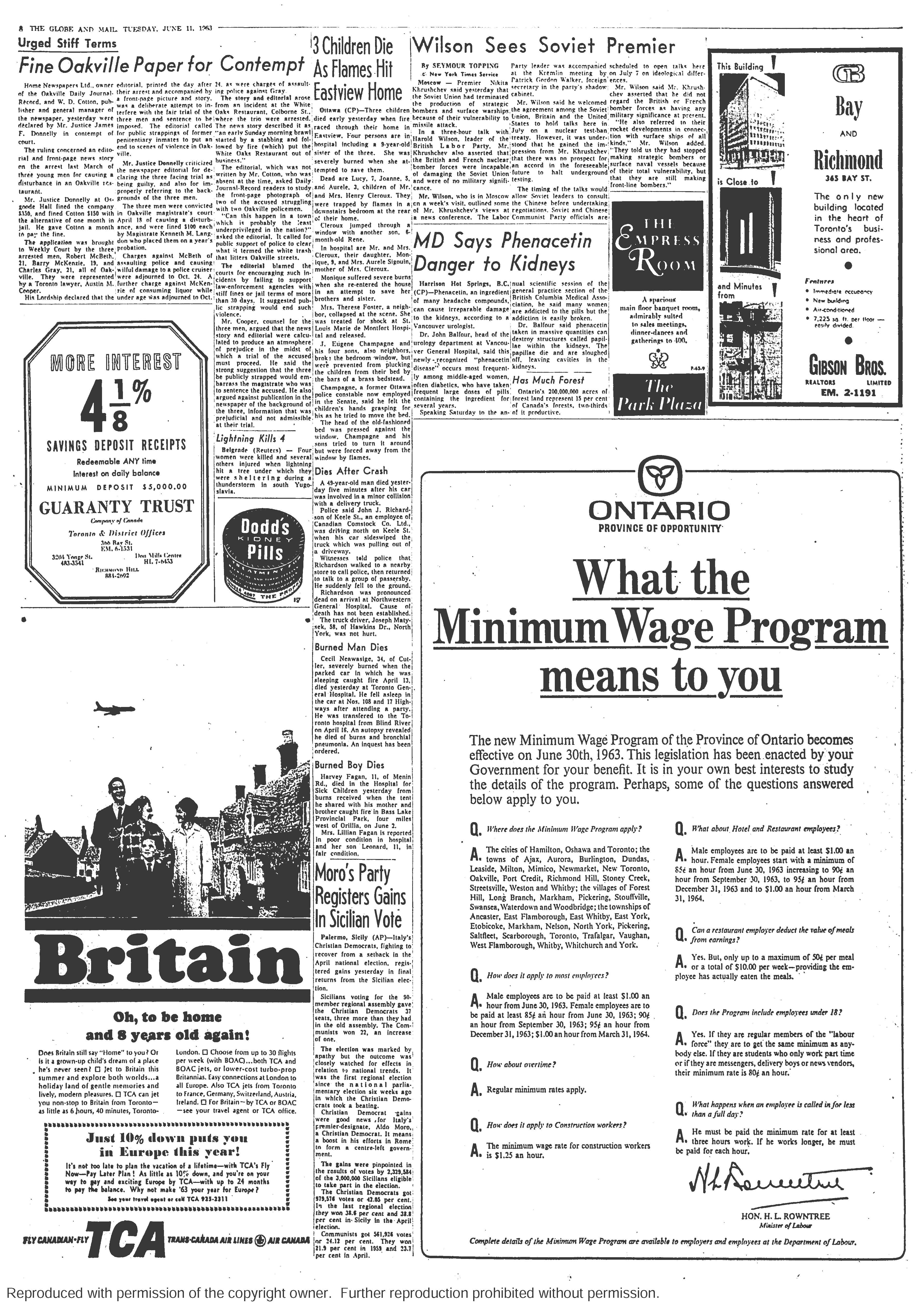 a newspaper ad for minimum wage