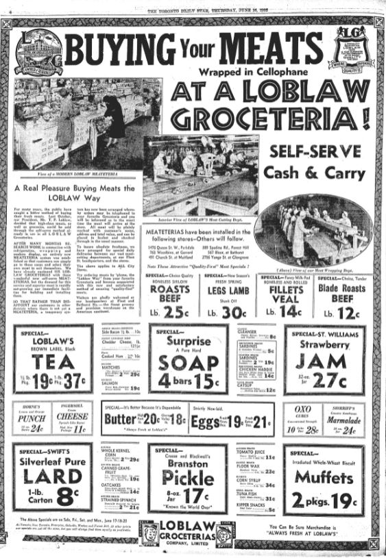 an archival ad for Loblaws grocery stores