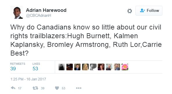 a tweet asking why Canadians know more about American human rights trailblazers than Canadian ones