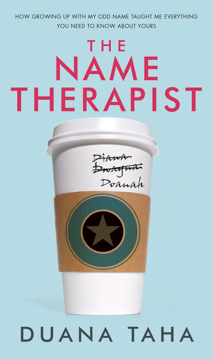 The Name Therapist book cover featuring a coffee cup with three names, two of which are crossed out.
