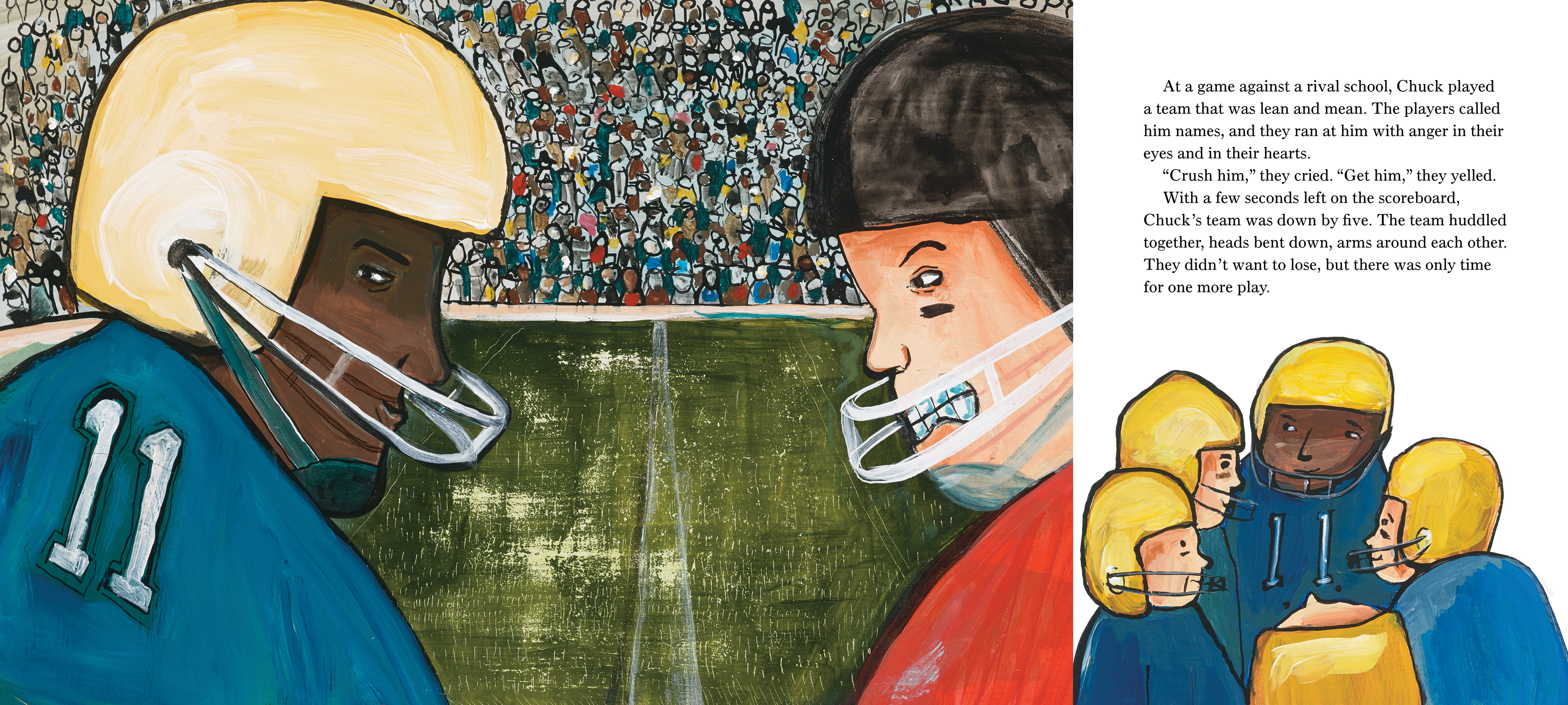 An excerpt from The Stone Thrower depicting a school football team playing a game with spectators in the stands.