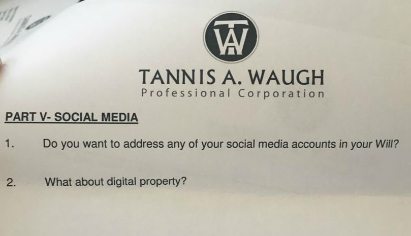 Social media clause in a last will and testament.