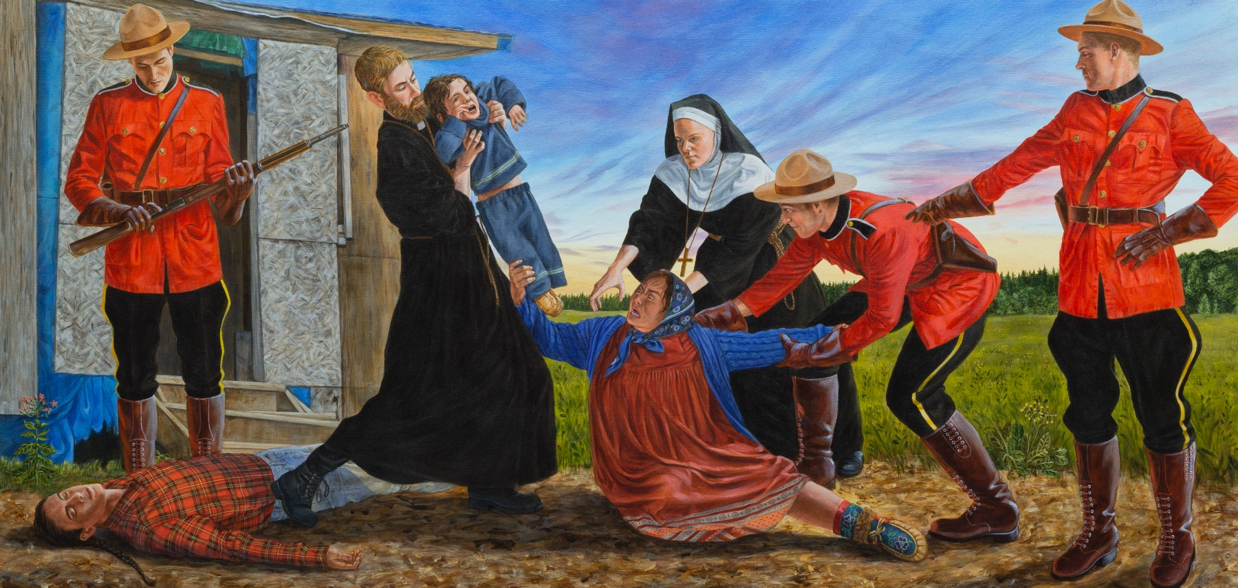 Kent Monkman painting showing RCMP taking children from Indigenous parents