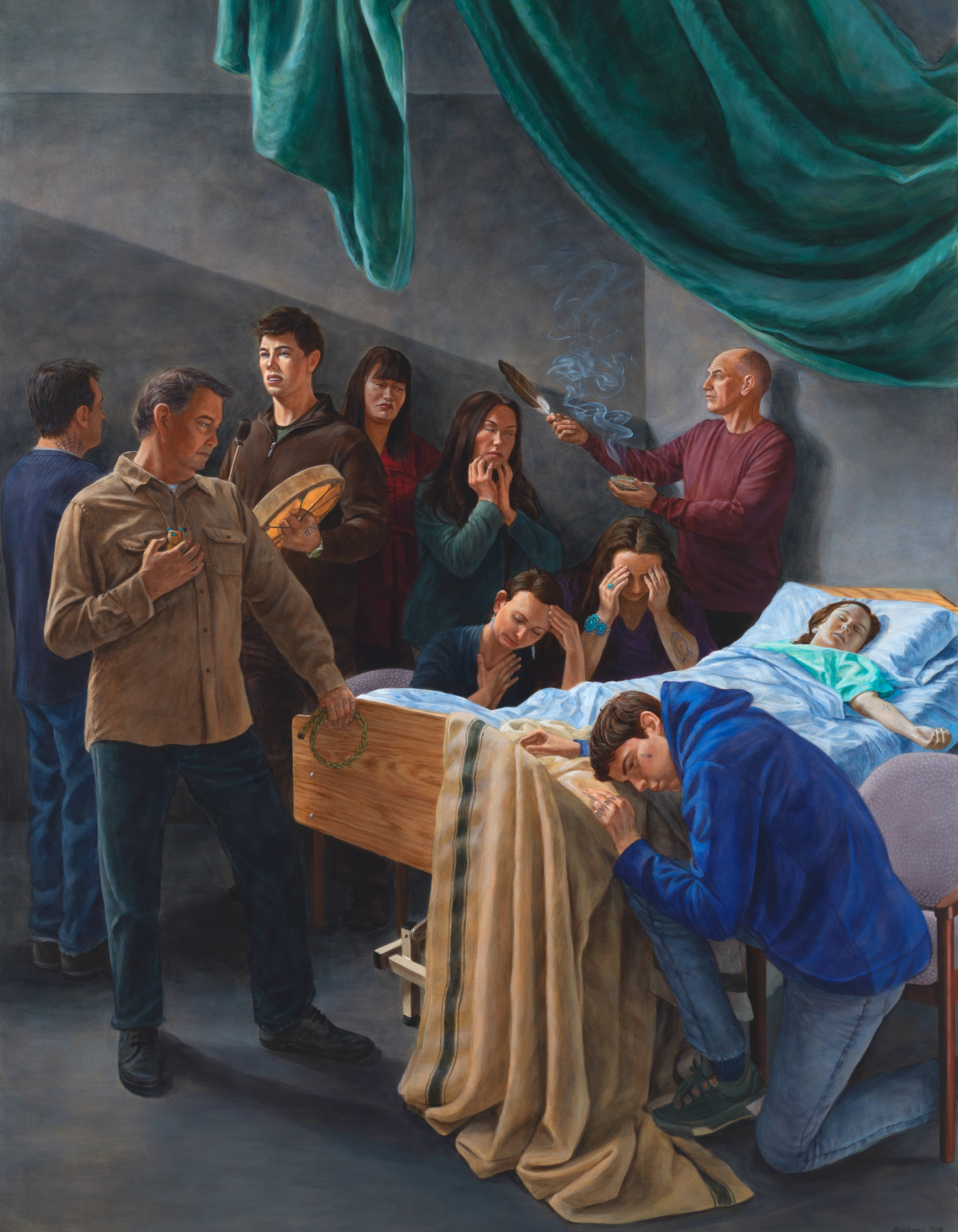 Kent Monkman painting depicting a girl on her deathbed