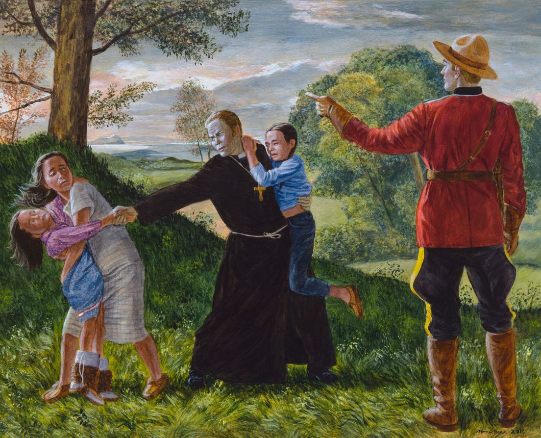 children being taken by RCMP - Kent Monkman painting