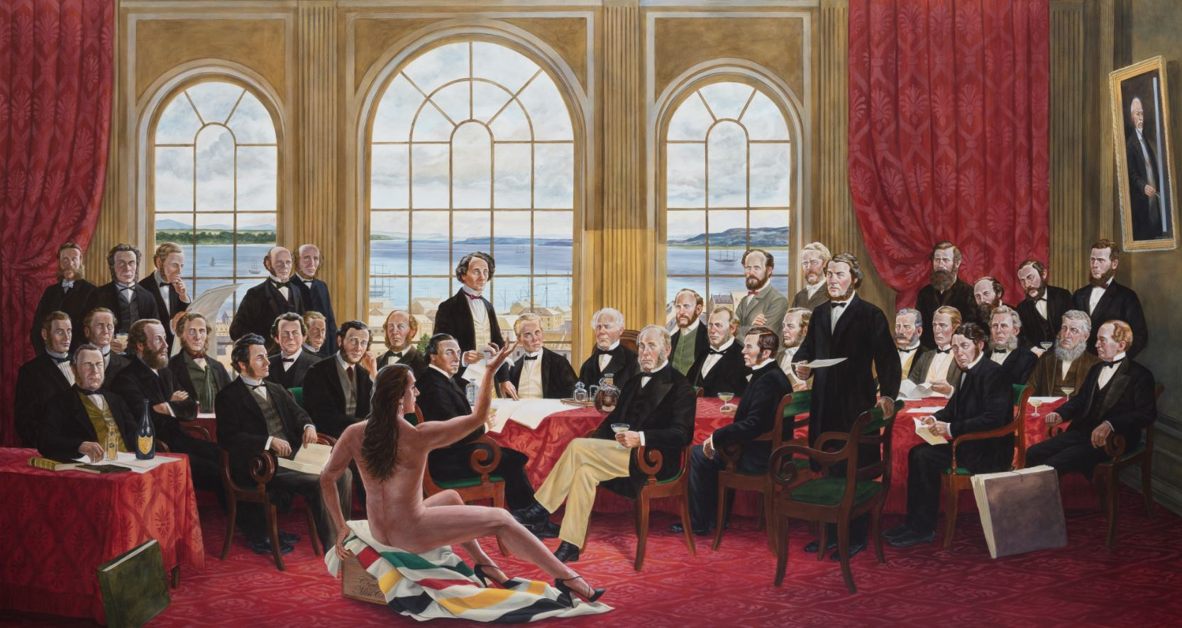 Kent Monkman painting depicting the fathers of confederation with an Indigenous person present