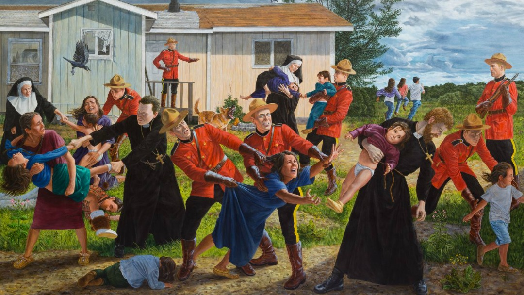 Kent Monkman painting depicting children being taken away from parents to be taken to residential schools