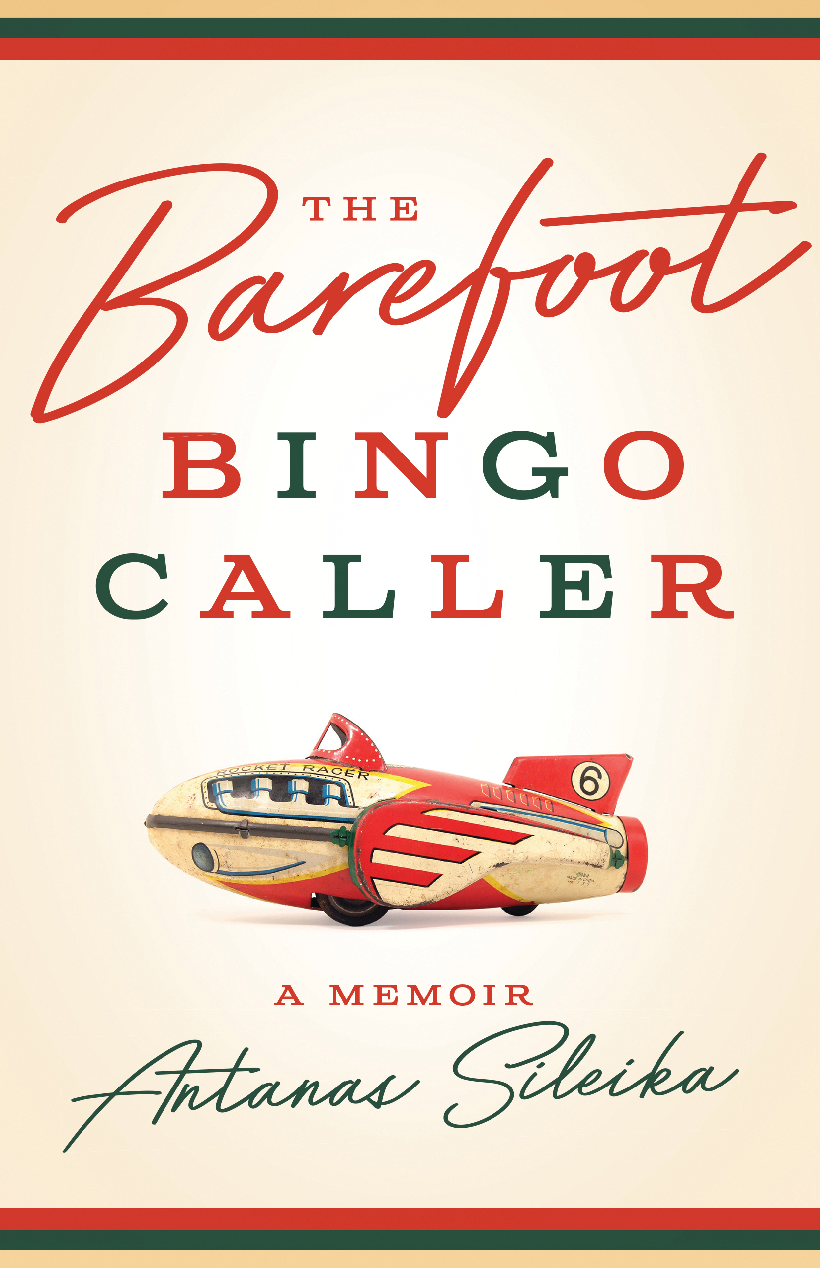 cover image for the book, The Barefoot Bingo Caller showing an image of a rocket