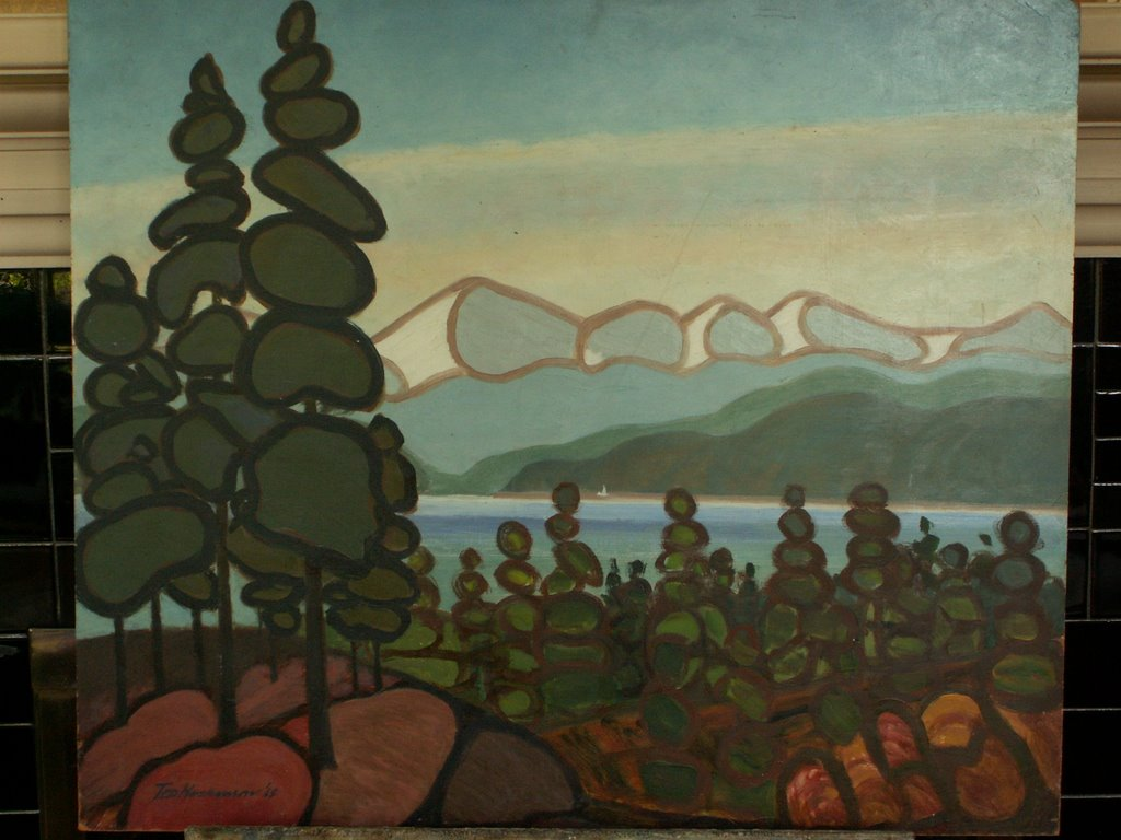 a painting in the style of Lawren Harris, by Ted Hoskinson