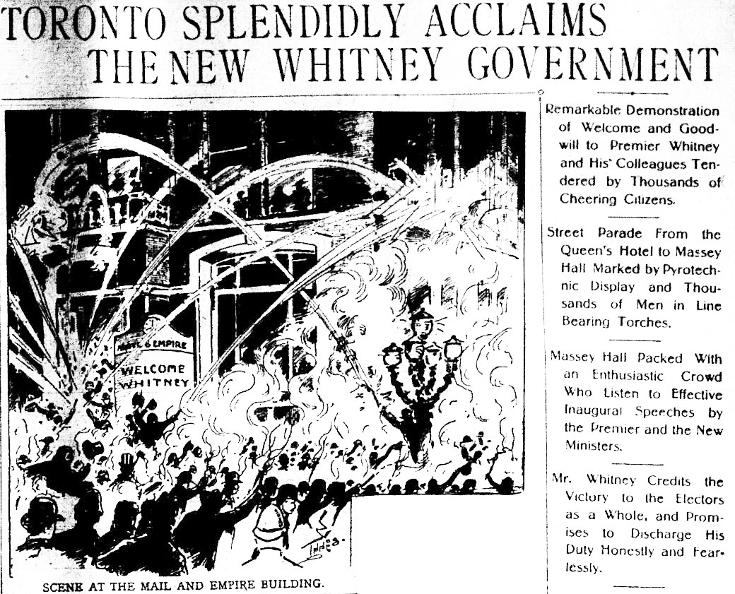 an archival newspaper front page showing a street party given after the 1905 Ontario election