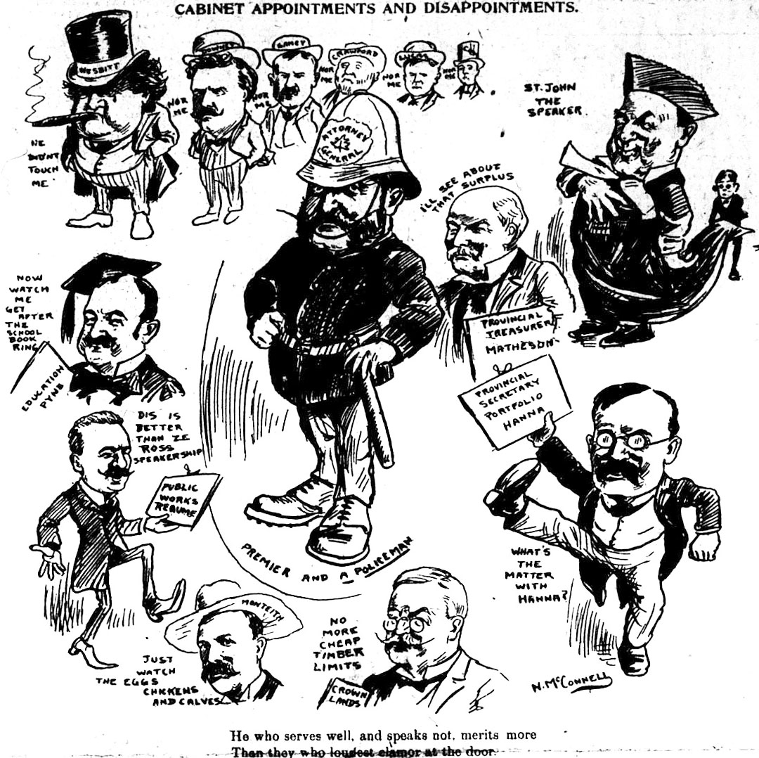 caricatures of the Ontario cabinet after the 1905 election