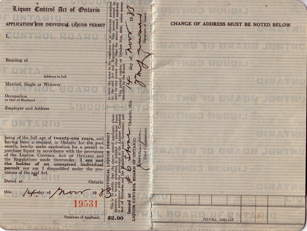 a sample of a historic LCBO permit application