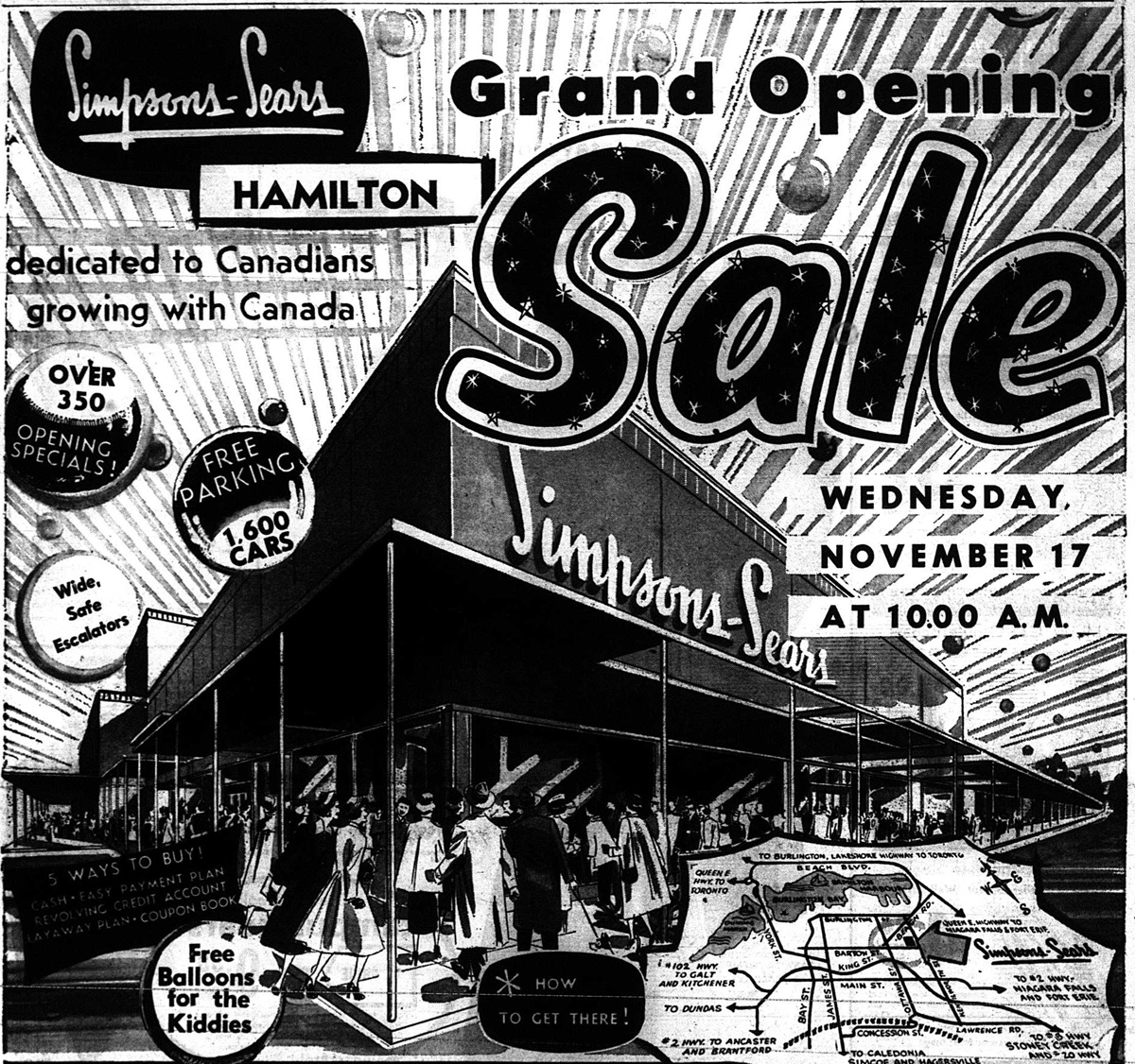 a sketch of a Sears ad from mid-20th century