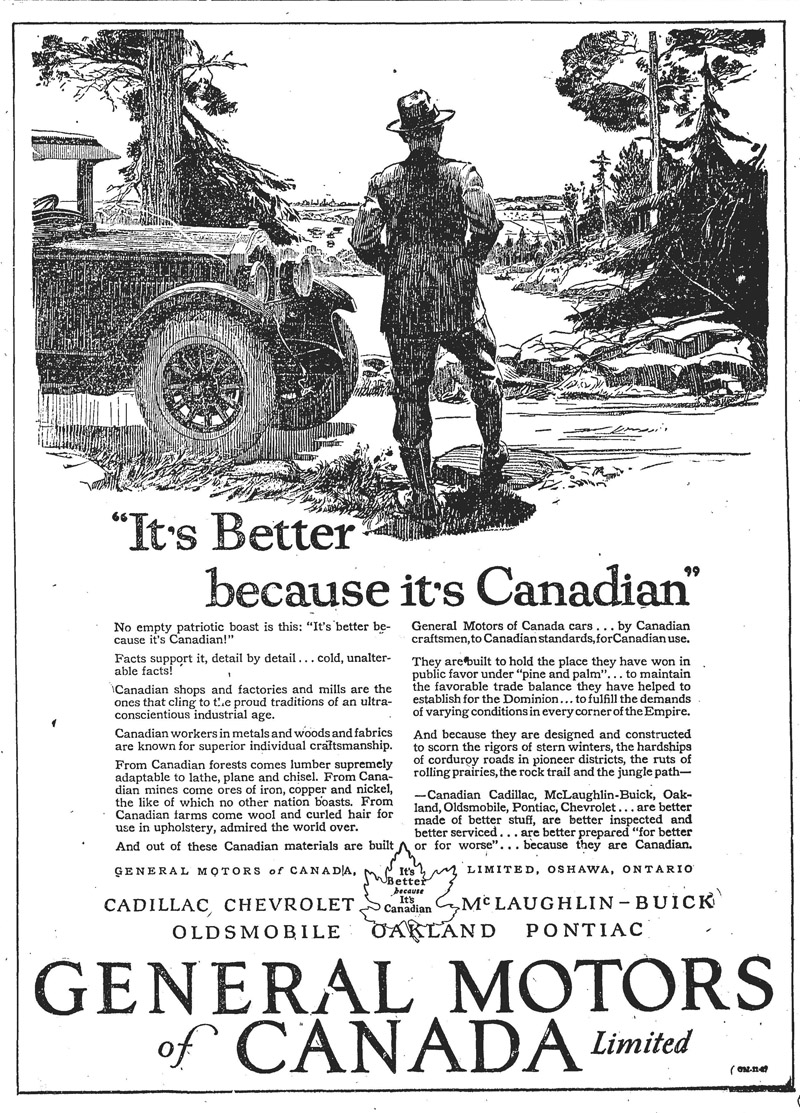 an archival Globe and Mail ad for General Motors
