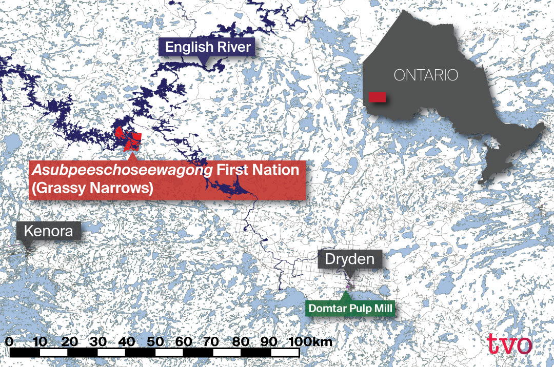 Map shows Grassy Narrows First Nation's location slightly north of Kenora, Ontario, east of the Ontario-Manitoba border, and northwest from the paper mill in Dryden that poisoned the rivers around the First Nation.