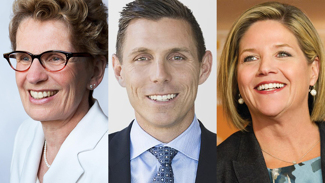 Side-by-side images of Kathleen Wynne, Patrick Brown and Andrea Horwath.