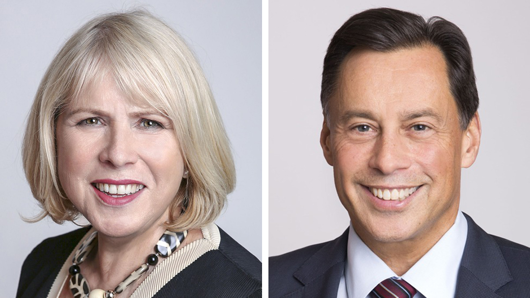 Side-by-side images of Deb Matthews and Brad Duguid