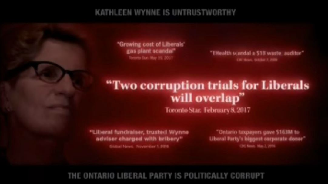 Screen shot of advertisement attacking Kathleen Wynne.