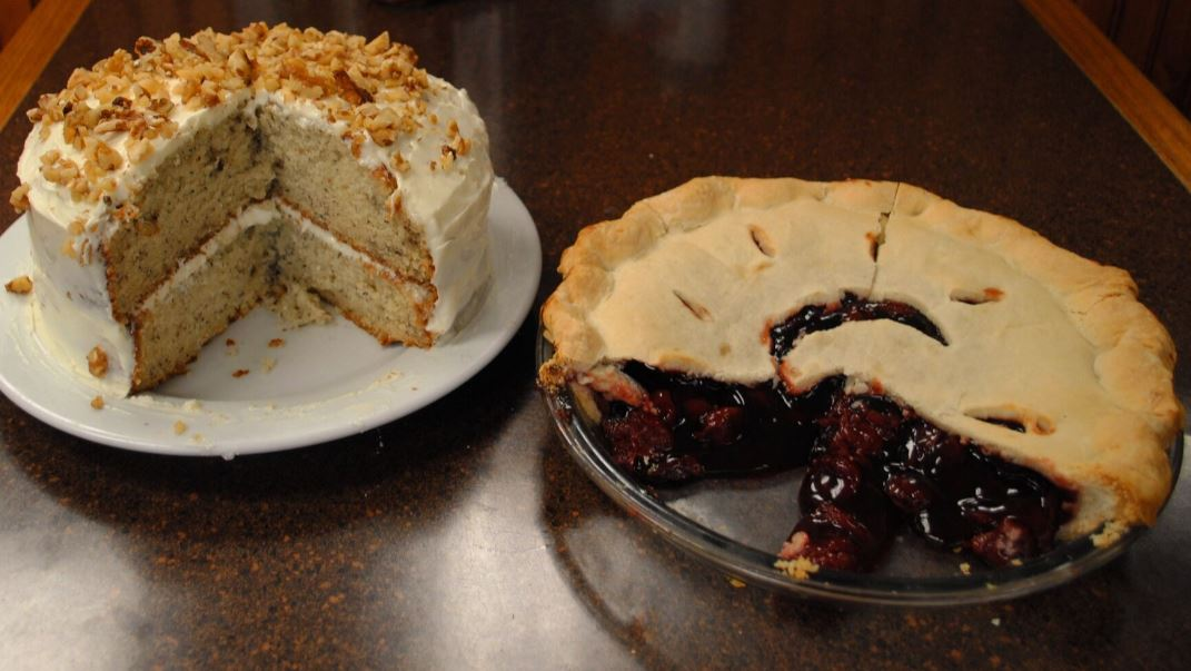 a fruit pie and cake
