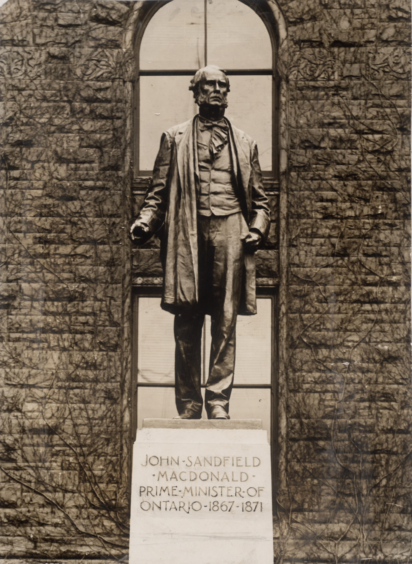 a statue of Ontario's first premier, James Sandfield Macdonald