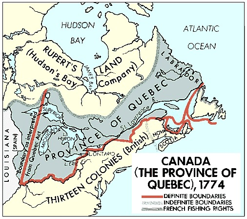 Quebec's borders in 1774, stretching into what is now the U.S.