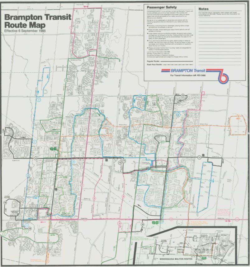 Brampton transit route map
