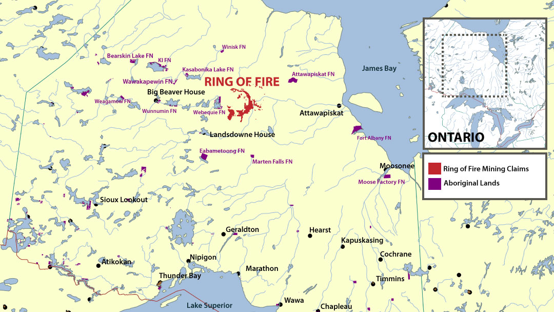 map showing Ontario's Ring of Fire