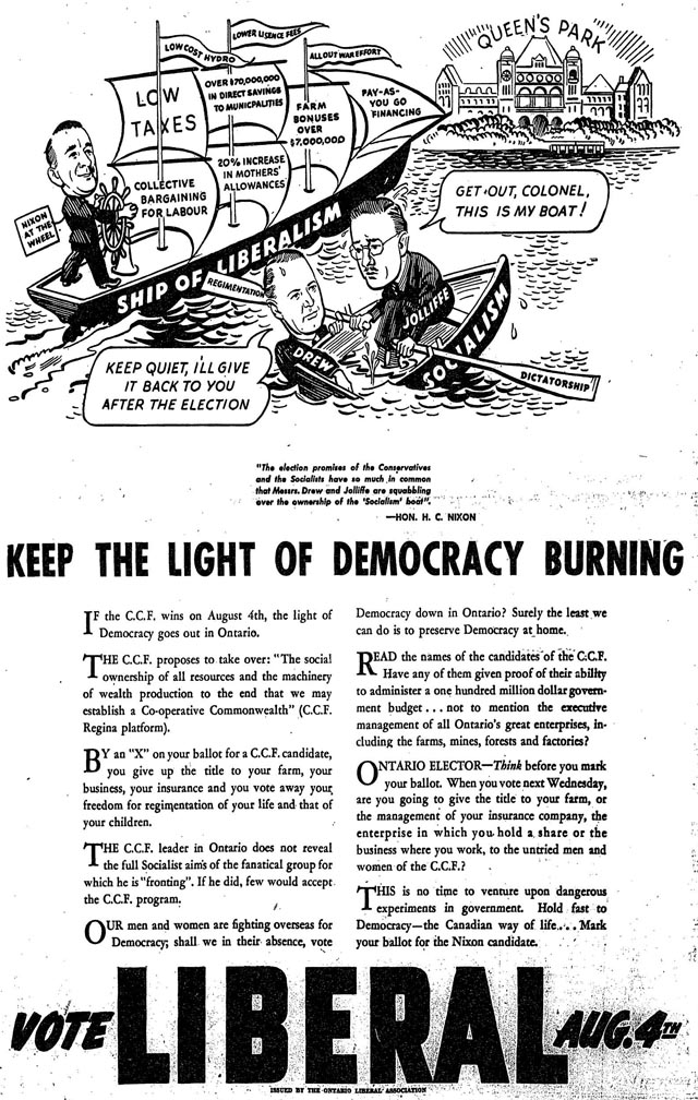 an archival political ad in a newspaper