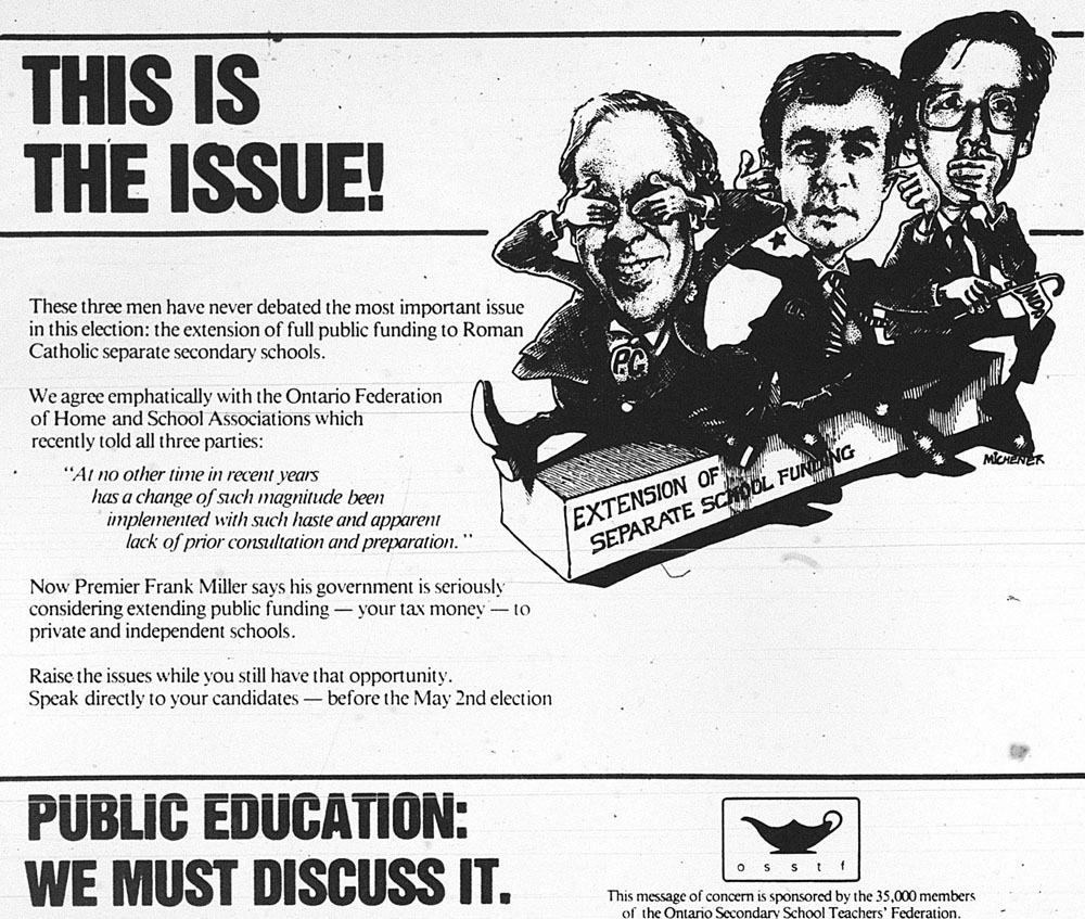 a newspaper ad for the Ontario election of 1985