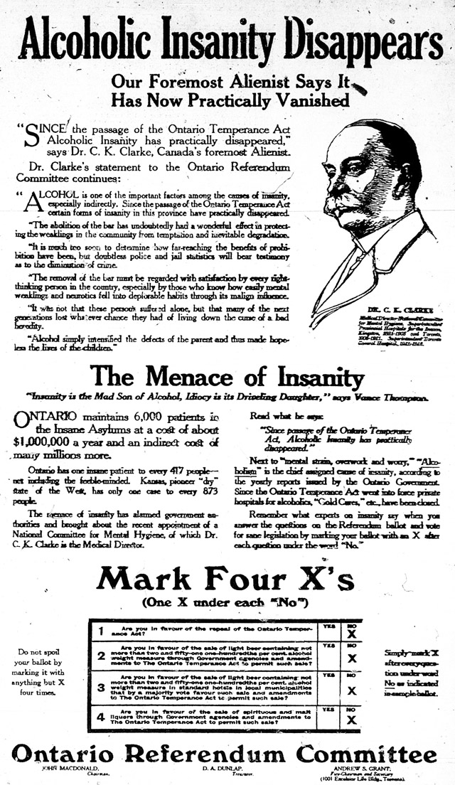 an archival pro-temperance ad from the Ontario 1919 election