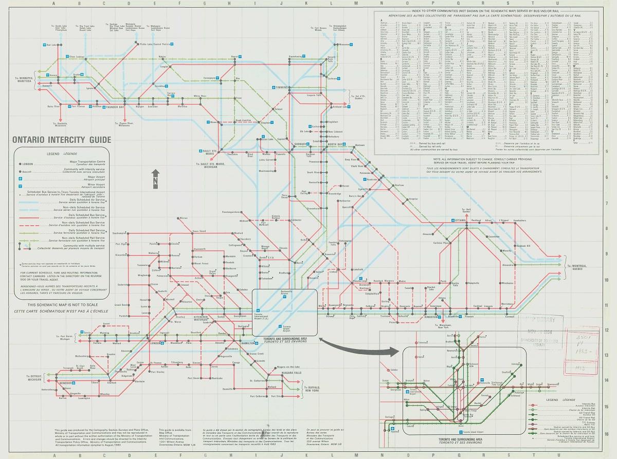 Diagram showing bus routes