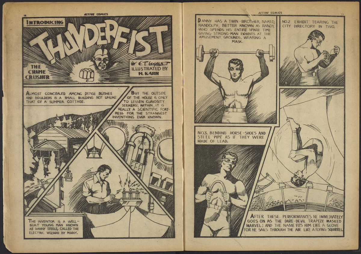 a two-page spread featuring the exploits of Thunderfist