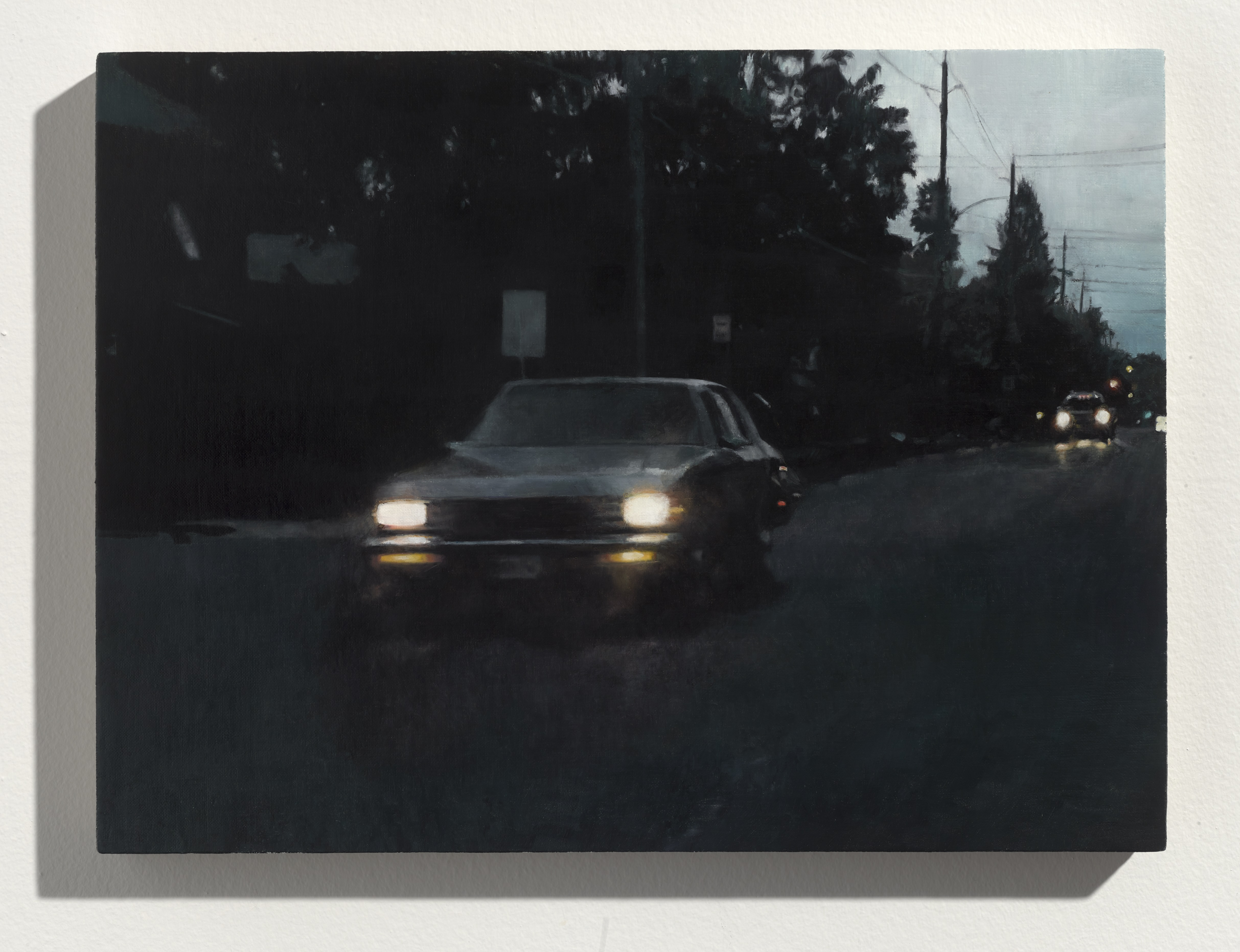 Painting of a car, with headlights on, driving down a dark street with trees silhouetted in the background.
