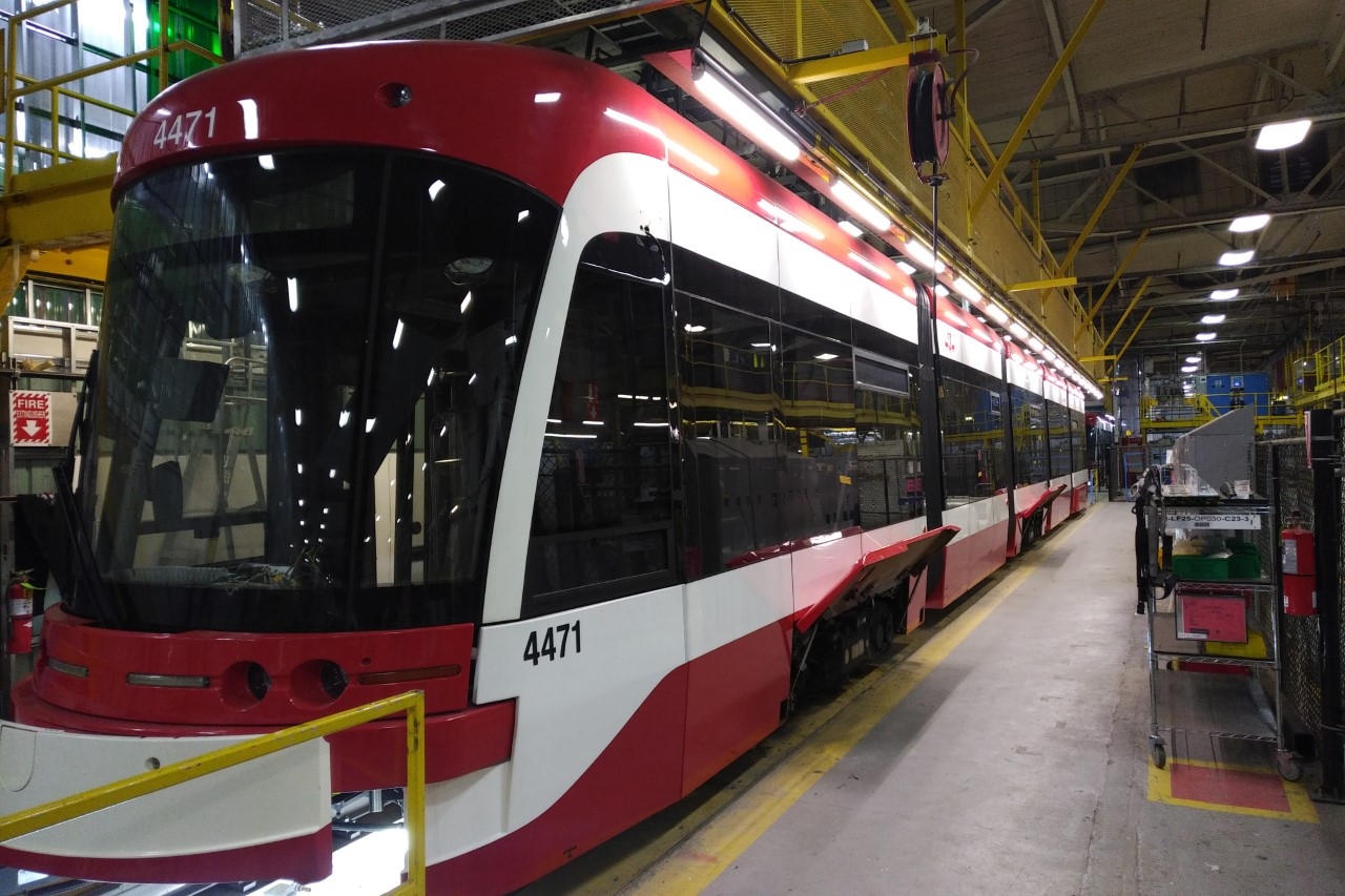 a TTC streetcar in the Bombardier manufacturing plant in Thunder Bay.